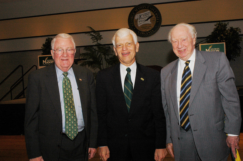 From left: Edwin Meese, President Alan Merten and Sidney Dewberry at a ceremony to recognize President Merten's 10th year at Mason.