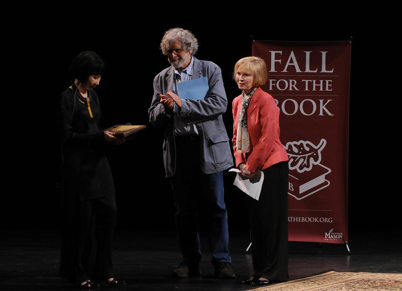 Sally Merten and Alan Cheuse presenting the Fairfax Prize to Amy Tan at Fall for the Book.