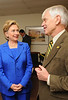 President Alan Merten with Hillary Clinton. Photo by Evan Cantwell.