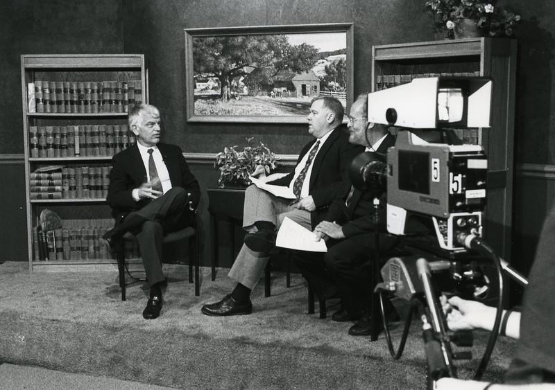 President Alan Merten in the GMU-TV studios.
