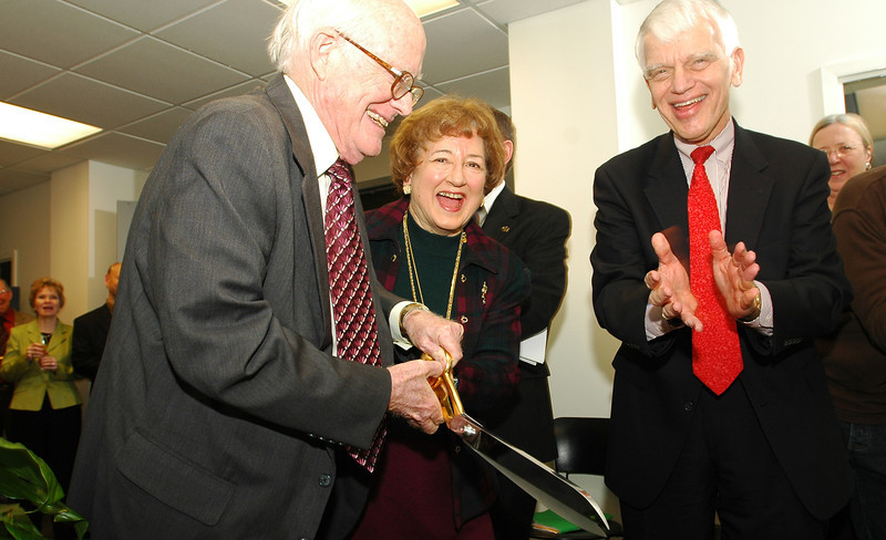 Donald and Nancy DeLaski with President Alan Merten during ribbon-cutting ceremony for the School of Music practice room opening. Photo by Evan Cantwell