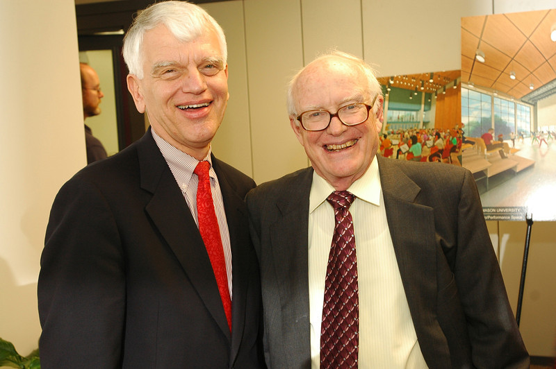 President Alan Merten with Donald DeLaski, a long-time supporter of the arts at Mason. Photo by Evan Cantwell