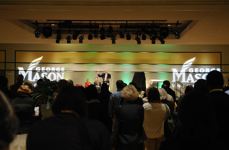 President Alan Merten speaking at the Mason Nation Farewell Tribute.