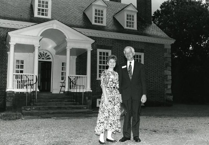 President Alan Merten and wife Sally on a 1996 tour of Gunston Hall.