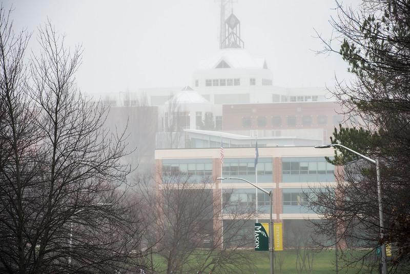 Johnson Center in fog