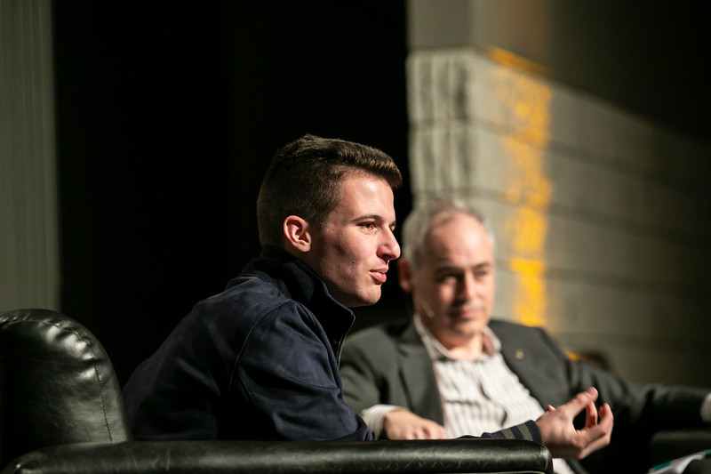 Cameron Kasky, Activist and Co-Founder of March for Our Lives, is the featured speaker during  the Freedom and Learning Forum, hosted by President Cabrera,  the LEAD Office, University Life, University Life Programming Committee, and the Parents Fund.  Photo by:  Ron Aira/Creative Services/George Mason University