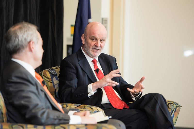 H.E. The Ambassador of Spain, Ramón Gil-Casares speaks during the Freedom and Learning Forum on April 5.  Photo by Ron Aira/Creative Services/George Mason University