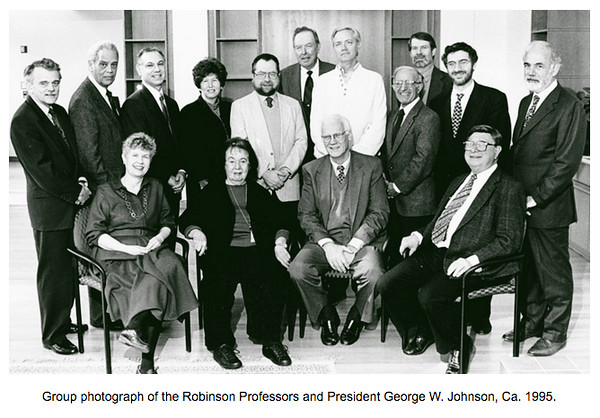 President George W. Johnson with the Robinson Professors , circa 1995. photo by Creative Services