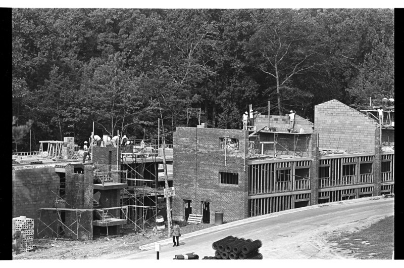Construction of the Student Apartments, Mason's first on-campus residence.