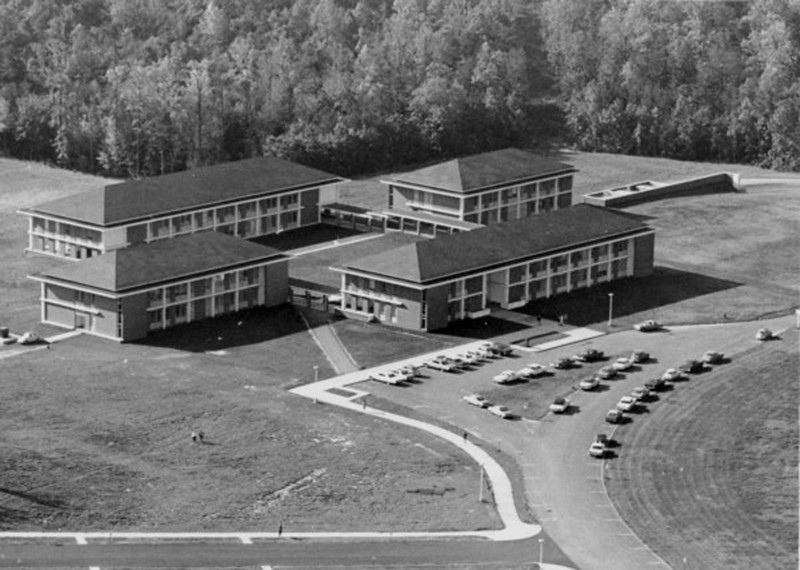 The first four buildings on the Fairfax Campus of George Mason University.