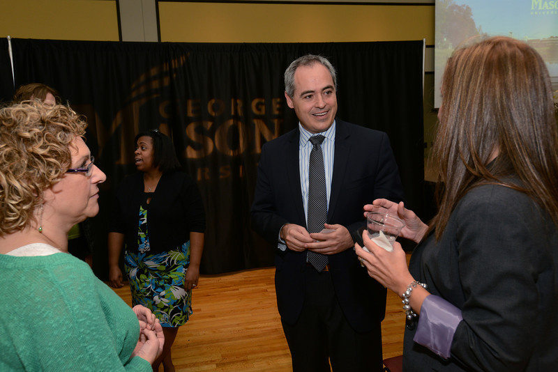 President Cabrera shares his vision with faculty and staff at the Fairfax campus town hall. Photo by Evan Cantwell/George Mason University