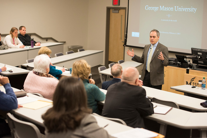 President Ángel Cabrera speaks about the Mason Vision statement at a faculty, student and staff town hall meeting at the Arlington campus. Photo by Alexis Glenn/Creative Services/George Mason University