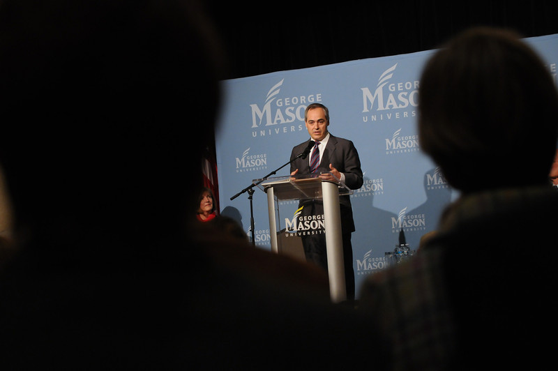 111215129 - Dr. Angel Cabrera, President-Elect, speaks after he was announced as Merten's successor on December 15, 2011 at the Mason Inn at Fairfax Campus. Photo by Evan Cantwell/Creative Services/George Mason University