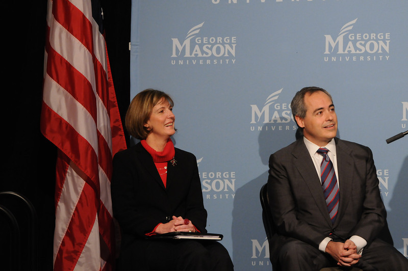 111215080 (L to R) Lovey L. Hammel and Angel Cabrera, president-elect of George Mason University on December 15, 2011 at the Mason Inn at Fairfax Campus. Photo by Evan Cantwell/Creative Services/George Mason University