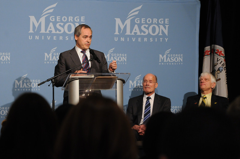 111215183 - (L to R) Dr. Angel Cabrera, President-Elect; Alan Merten, President of George Mason University; and  Ernst Volgenau, rector of the Board of Visitors on December 15, 2011 at the Mason Inn at Fairfax Campus. Photo by Evan Cantwell/Creative Services/George Mason University