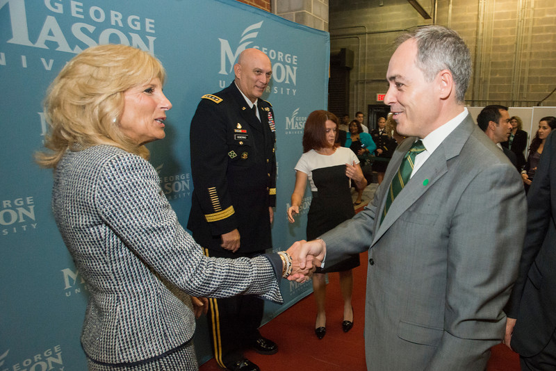 Dr. Jill Biden and Army Chief of Staff General Raymond Odierno greet President Ángel Cabrera at an event hosted by the American Association of Colleges for Teacher Education (AACTE) and the Military Child Education Coalition (MCEC). Photo by Alexis Glenn/Creative Services/George Mason University