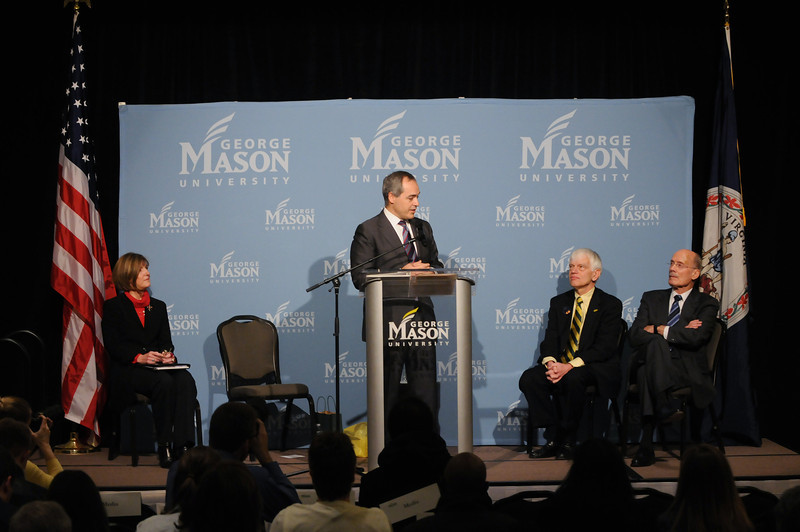 "e111215120 - Dr. Ángel Cabrera makes remarks during a press conference held on Dec. 15, 2011, at the Mason Inn. ""I love what this university stands for,"" he told the audience. Photo by Evan Cantwell/Creative Services/George Mason University"