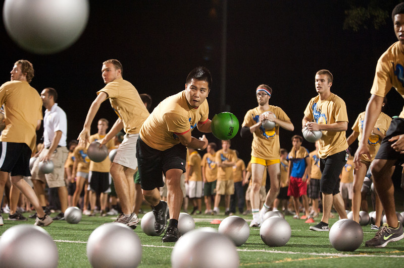 Hundreds of Mason students participate in the annual Dodgeball game hosted during Welcome Week. Photo by Alexis Glenn