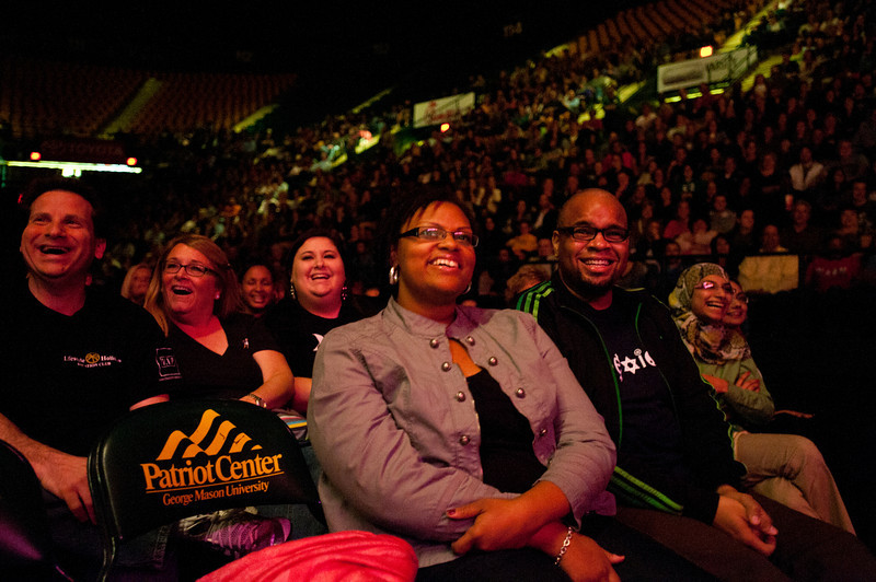 Attendees laugh as comedian Keith Robinson performs before comedian Wanda Sykes at the Patriot Center, Fairfax Campus. Photo by Alexis Glenn