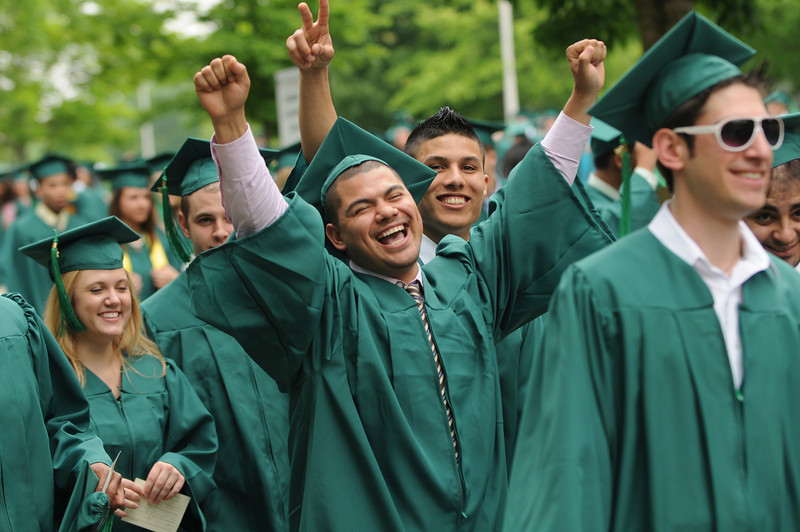 Students celebrate at the School of Management Convocation. Photo by Evan Cantwell