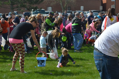 Linda Kerkau - Morning Sun  Children gather searching for treats at the annual Alma Masonic Home Easter Egg Hunt on Saturday, April 15, 2017.