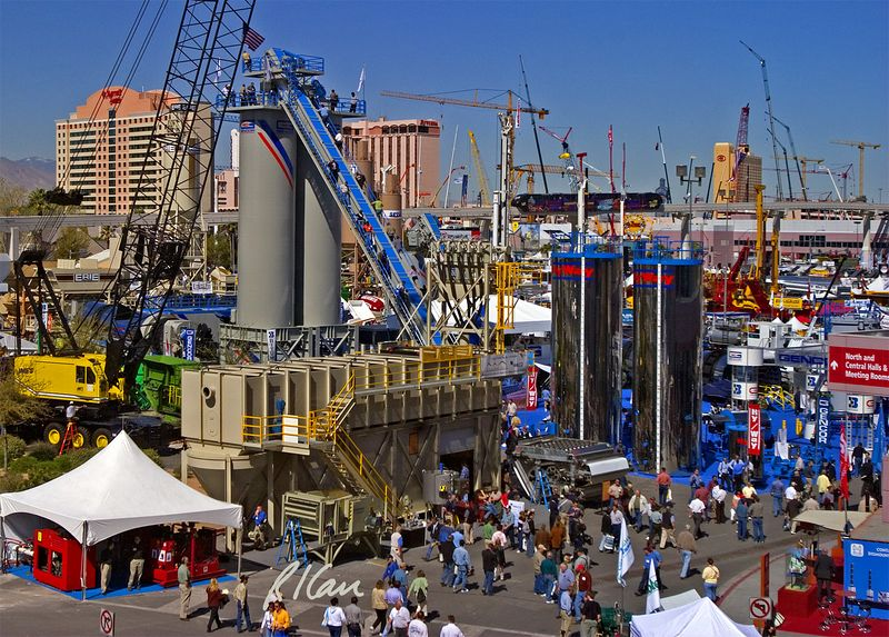 Concrete, asphalt construction: First day of CONEXPO 2005, Silver Lot exhibits of aggregate, asphalt, and concrete construction equipment. Las Vegas, Nevada, March 15, 2005.