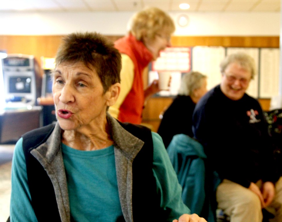 . Fran Hatfield 76 of Leominster, on left talks about her life as a bowler at Mason\'s Bowling alley in Leominster. Sentinal&Enterprise/ David H. Brow