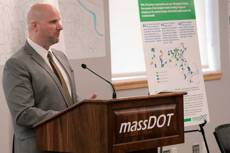 The Lt. Gov. Karyn Polito was on hand in Fitchburg for the Complete Streets Funding Program Awards FY20 Tuesday, Jan. 28, 2020. Jonathan Gulliver the state highway administrator addresses the crowd at the event. SENTINEL & ENTERPRISE/JOHN LOVE
