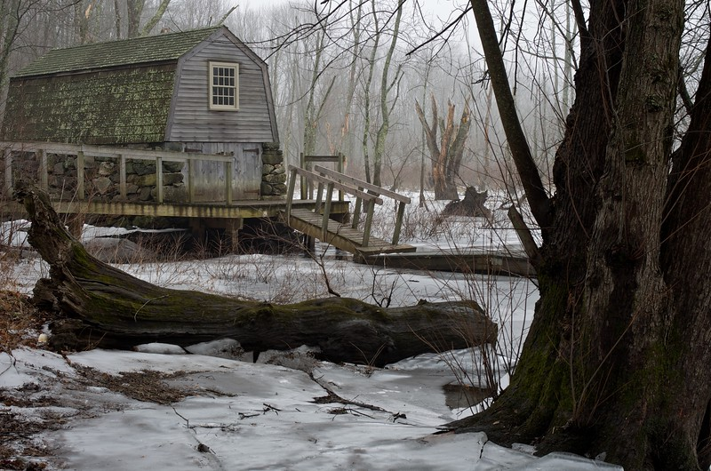 Boathouse ont the Concord River in Winter