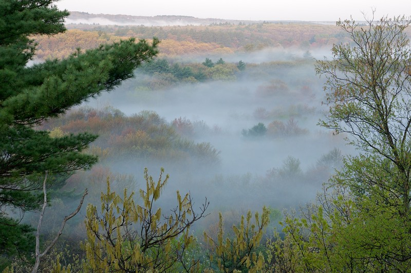 Blackstone river valley on a misty spring morning
