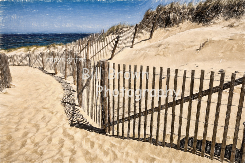 Heading to the Beach, Cape Cod (colored pencil)