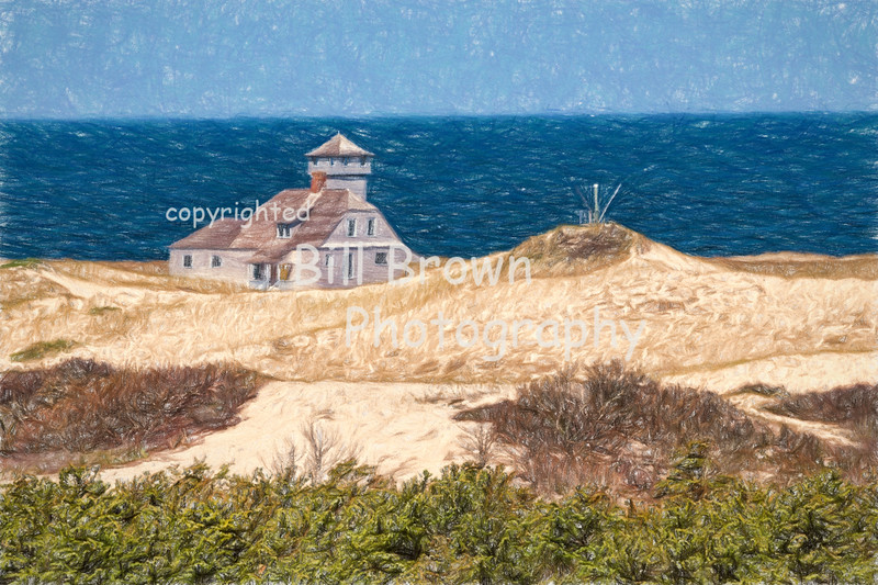 Cape Cod Life Saving Station (colored pencil)