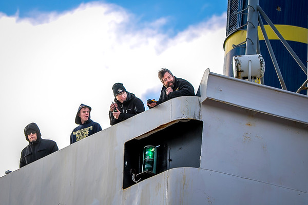 Bridge docking crew, Capt. Michael Campbell, MMA '87 (rt) in command.
