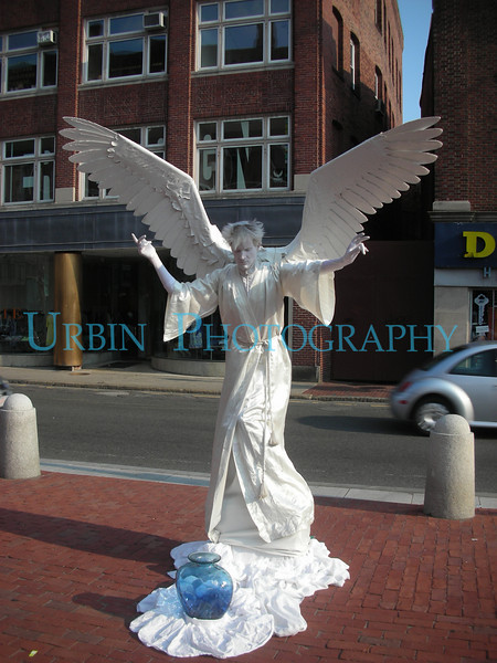 "A ""living statue"" of an Angel.  Seen in Harvard Square. Very well done.  Ya, I put money in the jar."