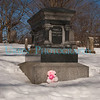This pink bear had been placed at Pamela's Monunment since the last snow fall.