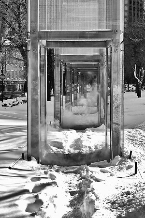 Boston's Holocaust Memorial, the steam was pushing through the snow.