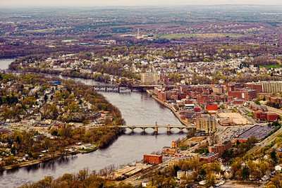 Merrimack River winding through Lawrence MA.