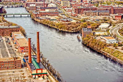 Merrimack River winding through downtown Lawrence