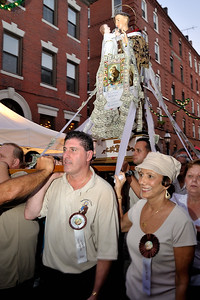 St. Anthony being paraded down the streets.