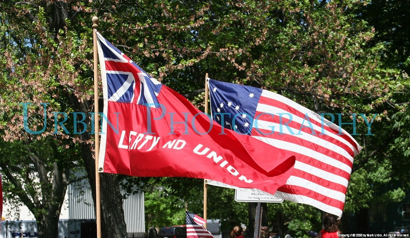 A pair of flags raised for Memorial Day.