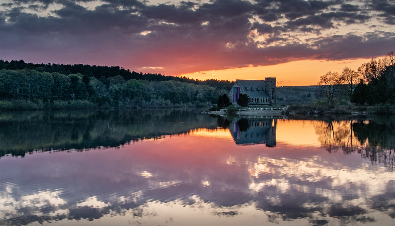 The Old Stone Church  (spring sunset)