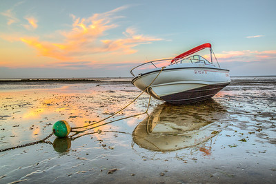 Boat at Brewster Flats, Breaktwater Beach, Brewster, Cape Cod, Massachusetts, USA