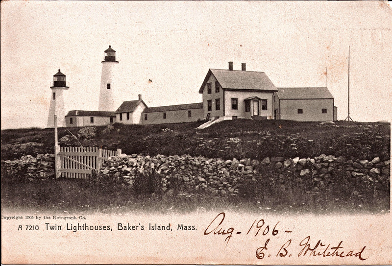 Old postcard featuring the 'Ma' & 'Pa' Lighthouses of Bakers Island