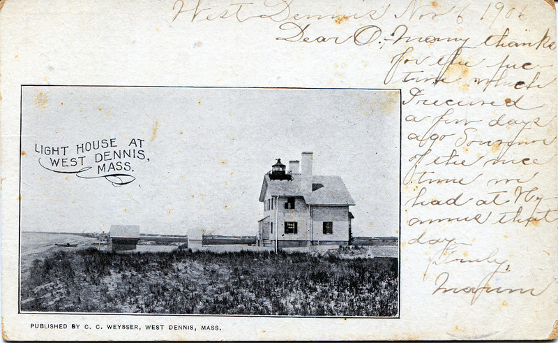 Old postcard view of the Bass River Lighthouse which shows the oil house prior to its destruction in the 1944 hurricane