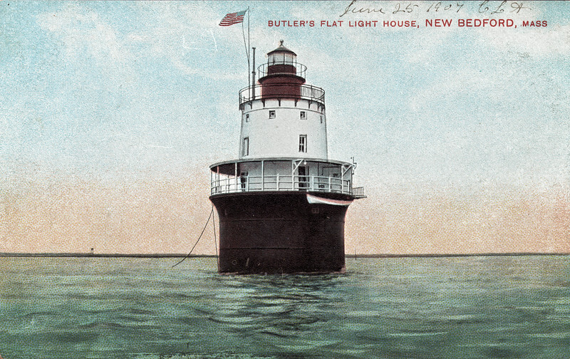 Old postcard view of the Butler Flats Lighthouse