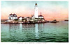 An old postcard view of Boston Light showing the 1859 Keepers duplex which was destroyed in 1960.