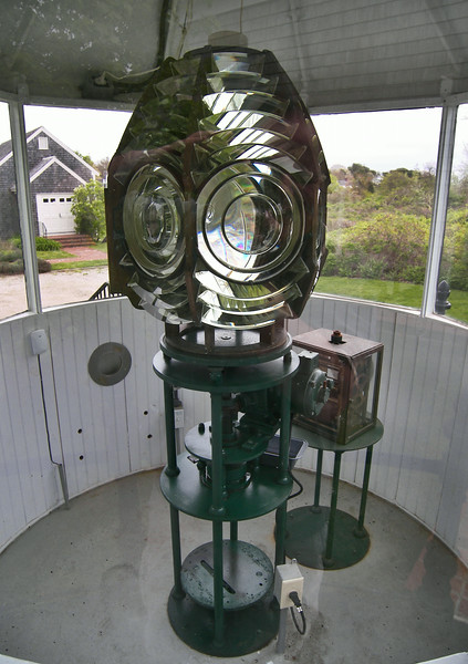 When the Coast Guard assumed authority for lighthouses in 1939 the light was electrified and an electric motor was installed to rotate the lens.  The wind up clockworks were retained in the tower as a back up in case of power failures.