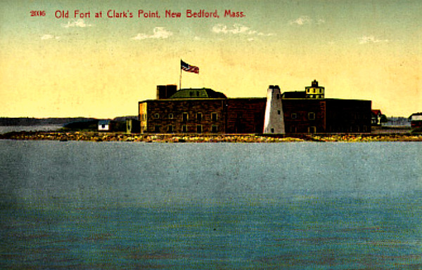 Old postcard view of Clark's Point showing the 1804 stone tower and the new lighthouse atop Fort Taber