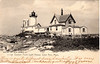 Old postcard view of the 1890 Eastern Point Lighthouse which shows the fog bell tower in front of the light tower