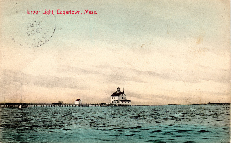 Turn of the century postcard view of the original Edgartown Lighthouse on Martha's Vineyard